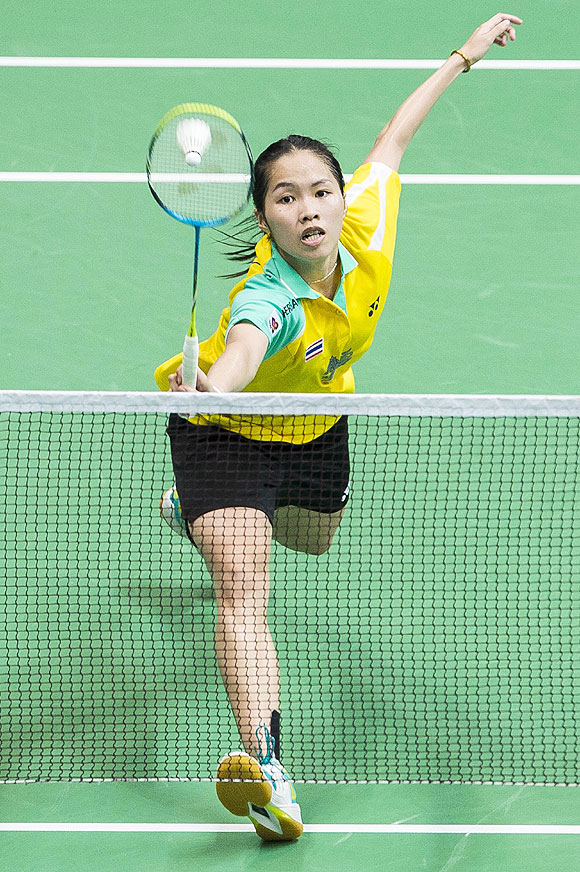Ratchanok Intanon of Thailand in action during her women's singles final match against Li Xuerui of China at the Tianhe Gymnasium in Guangzhou, on Sunday