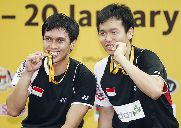 Indonesia's Mohammad Ahsan (left) and teammate Hendra Setiawan