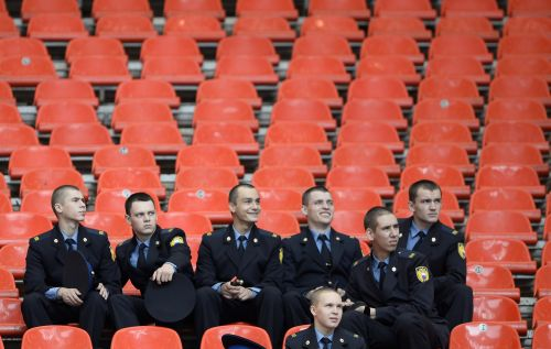 Russian cadets watch from the stands the morning session of the IAAF World Athletics Championships at the Luzhniki Stadium in Moscow