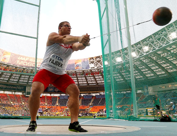 Pawel Fajdek of Poland competes in the men's hammer final