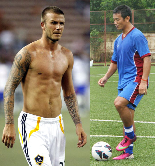 Baichung Bhutia (right) and David Beckham