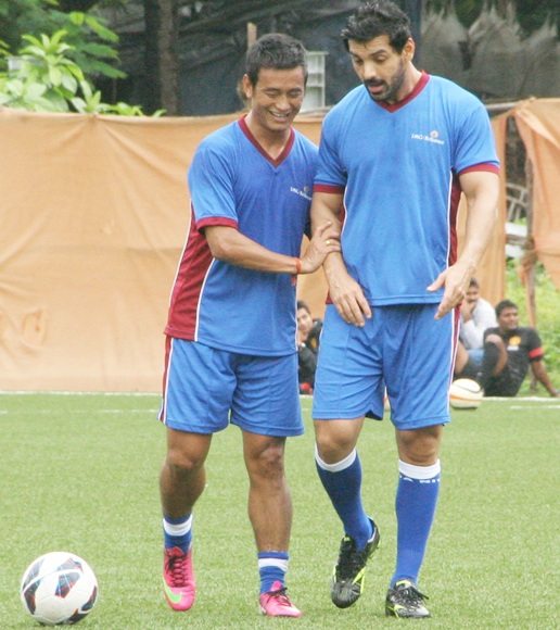 Baichung Bhutia with actor John Abraham
