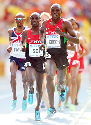 Isiah Kiplangat Koech of Kenya, Edwin Cheruiyot Soi of Kenya and Mo Farah of Great Britain compete during the Men's 5000 metres heats on day 4 of the 14th IAAF World Athletics Championships Moscow 2013 at Luzhniki Stadium in Moscow, on Tuesday