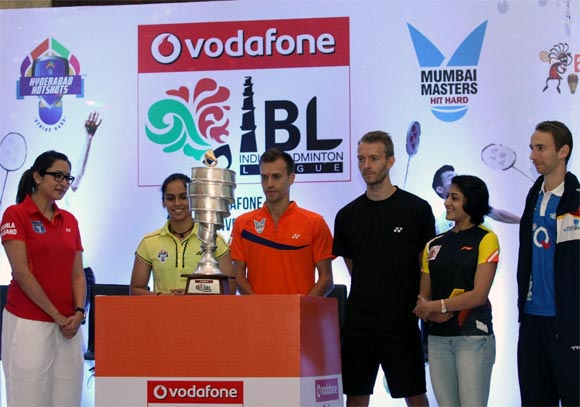 Left to Right: Jwala Gutta (Delhi Smashers), Saina Nehwal (Hyderabad Hotshots), Marc Zwiebler (Mumbai Masters), Carston Margensen (Banga Beats), Ashwini Ponappaa (Pune Pistons) and Mathias Boe (Awadhe Warriors) during the trophy unveiling ceremony of Indian Badminton League 2013.