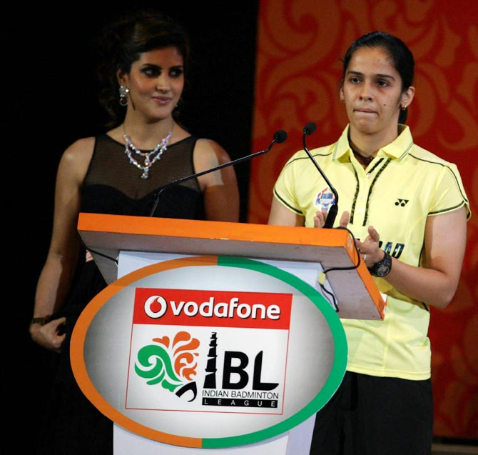 Saina Nehwal (right) during the IBL opening ceremony