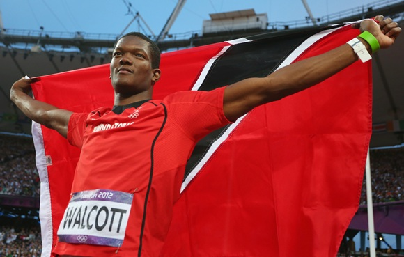 Keshorn Walcott of Trinidad and Tobago celebrates