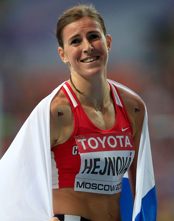 Zuzana Hejnova of the Czech Republic reacts after winning gold in the Women's 400 metres hurdles