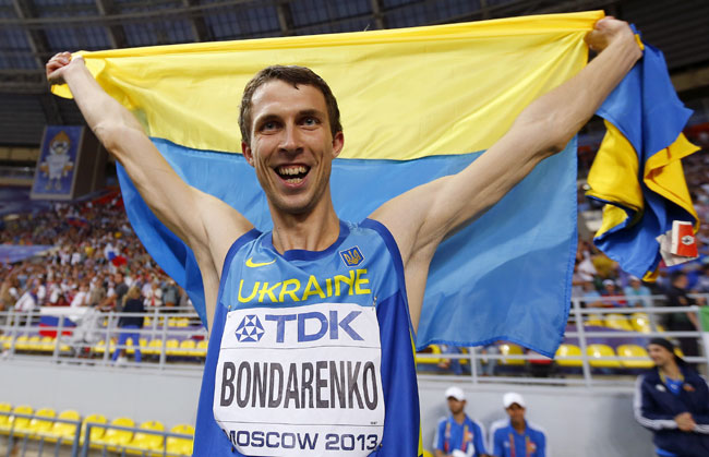 Bohdan Bondarenko of Ukraine celebrates winning gold medal in the men's high jump final