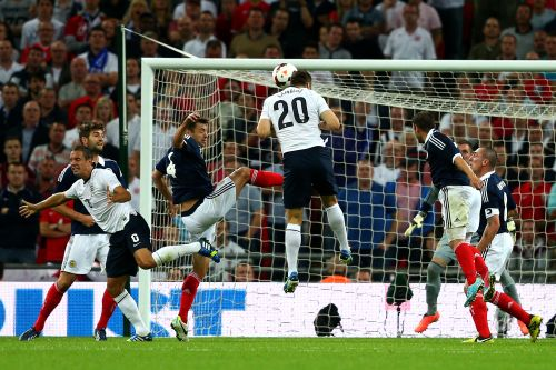Rickie Lambert of England scores a goal during the International Friendly match between England and Scotland at Wembley Stadium