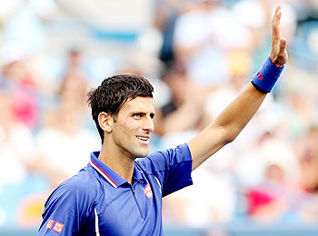 Novak Djokovic of Serbia acknowledges the crowd after his win over David Goffin of Belgium during the Western & Southern Open on August 15, 2013 at Lindner Family Tennis Center in Cincinnati, Ohio, on Thursday