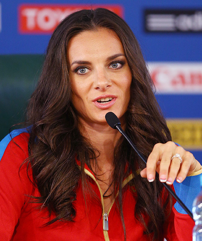 Elena Isinbaeva of Russia attends the IAAF Ambassador Programme Press Conference on Thursday