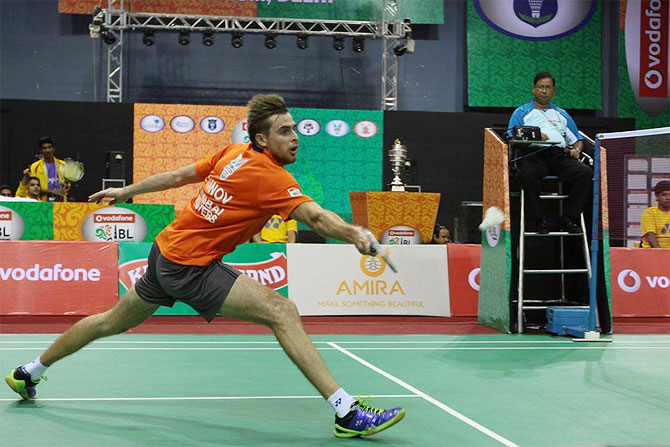 Mumbai Masters' Vladimir Ivanov in action against P Kashyap of Banga B