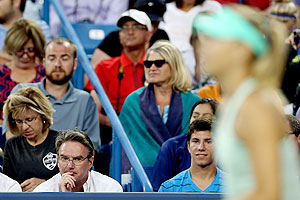 Coach Jimmy Connors watches ward Maria Sharapova as she plays Sloane Stephens during the Western & Southern Open at Lindner Family Tennis Center in Cincinnati, Ohio, on Tuesday