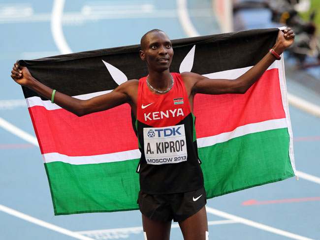 Asbel Kiprop of Kenya celebrates winning gold in the Men's 1500 metres final