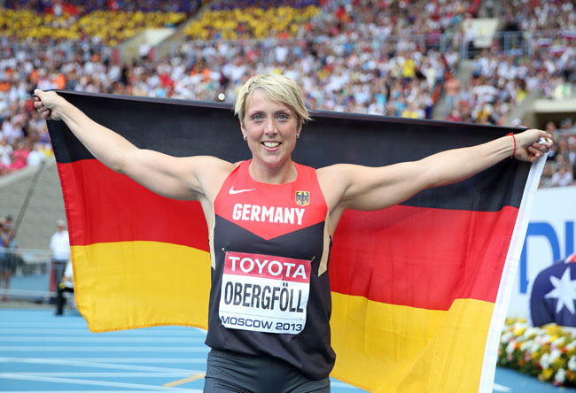 Christina Obergfoll of Germany celebrates winning gold in the Women's Javelin final