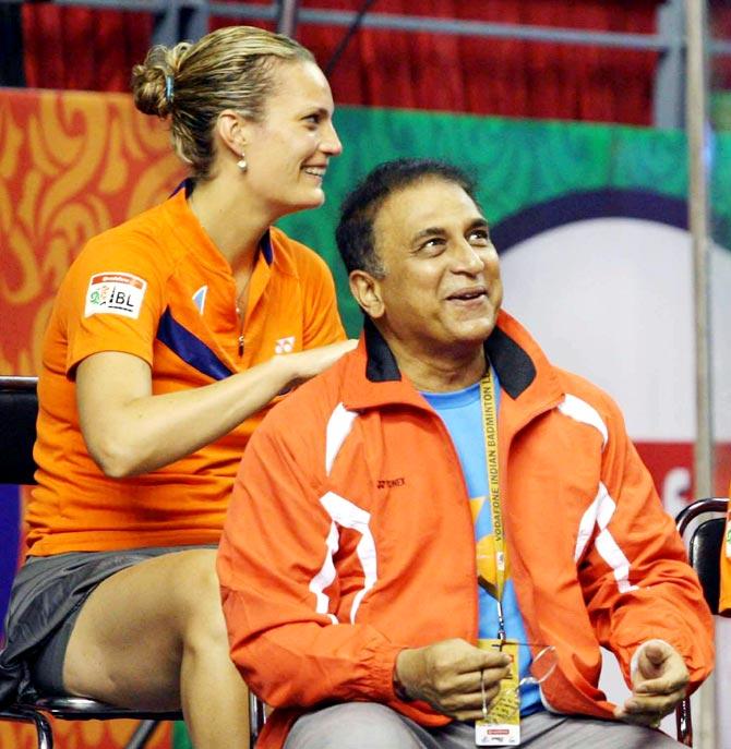 Sunil Gavaskar with Tine Baun