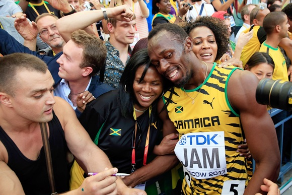 Usain Bolt of Jamaica celebrates victory