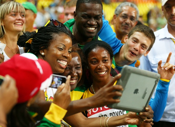 Shelly-Ann Fraser-Pryce of Jamaica celebrates
