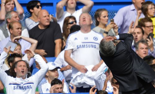 Chelsea's manager Jose Mourinho reacts during their English Premier League soccer match