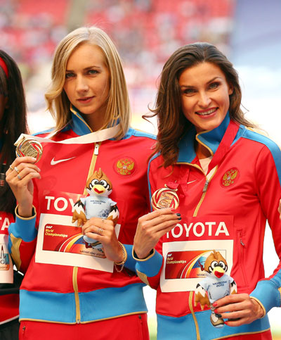 Women's High Jump gold medalist Svetlana Shkolina of Russia and joint bronze medalists Anna Chicherova of Russia