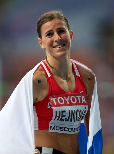 Zuzana Hejnova of the Czech Republic reacts after winning gold in the Women's 400 metres hurdles