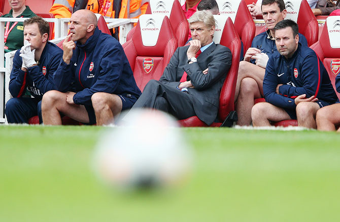 Arsene Wenger of Arsenal looks on during the Premier League match between Arsenal and Aston Villa on Saturday