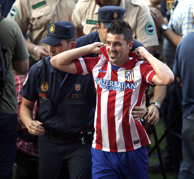 Atletico Madrid's newly signed striker David Villa