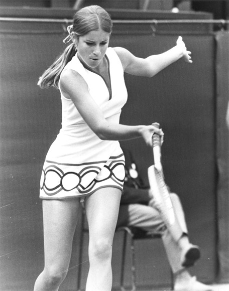 American tennis player Chris Evert in action
