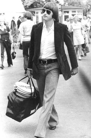 American tennis player Jimmy Connors arriving with his bag and racquets