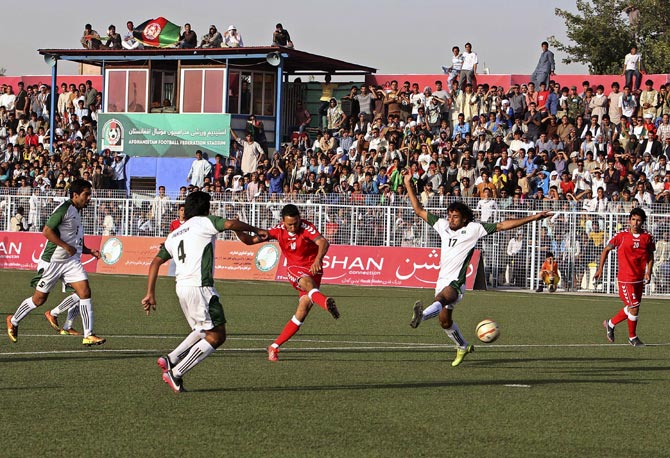 The friendly soccer match between Afghanistan and Pakistan in Kabul