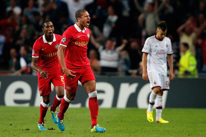 Jeffrey Bruma of PSV celebrates his team scoring a goal