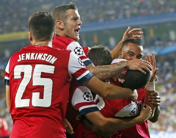 Arsenal's Kieran Gibbs (bottom Rright) celebrates