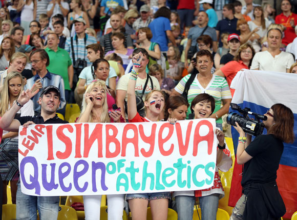 Fans show their support for Yelena Isinbayeva of Russia