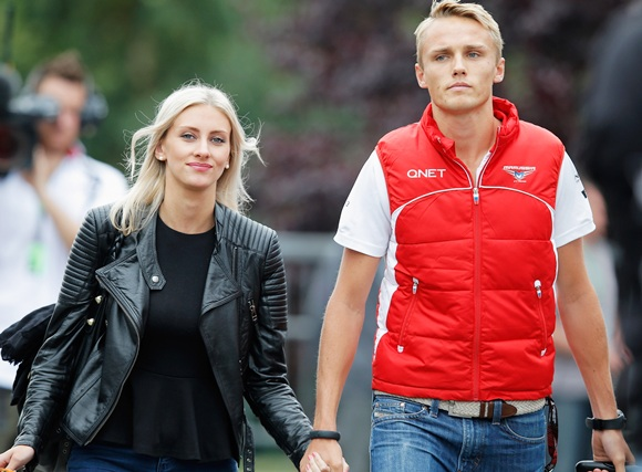 Max Chilton of Great Britain and Marussia and his girlfriend Chloe Roberts