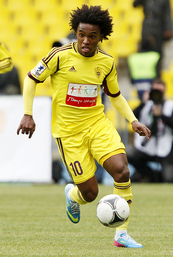 Willian of FC Anzhi Makhachkala in action during the Russian Premier League match between FC Spartak Moscow and FC Anzhi Makhachkala