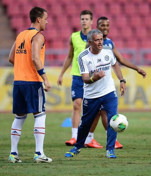 Jose Mourinho at a training session