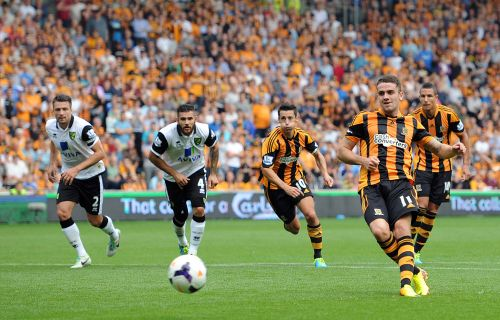 Robbie Brady of Hull City scores the opening goal from the penalty spot