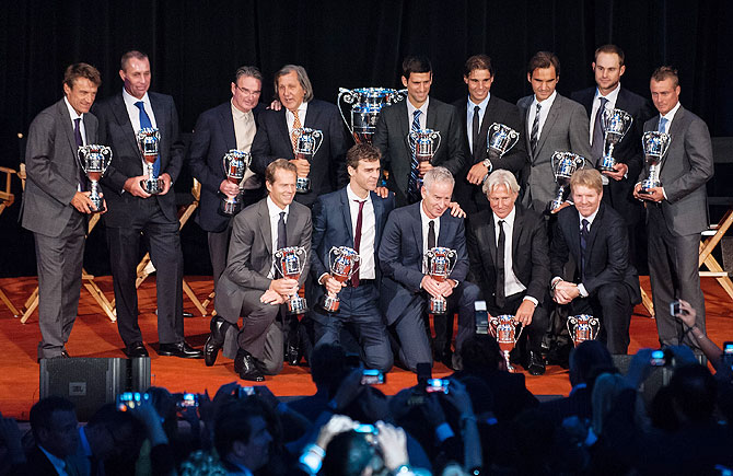 Mats Wilander, Ivan Lendl, Jimmy Connors, Ilie Nastase, Novak Djokovic, Rafael Nadal, Roger Federer, Andy Roddick, Lleyton Hewitt, and (left to right front) Stefan Edberg, Gustavo Kuerten, John McEnroe, Bjorn Borg, and Jim Courier attend the ATP Heritage Celebration at The Waldorf=Astoria in New York City on Friday