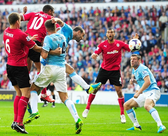 Cardiff City player Fraizer Campbell (10) heads in the third Cardiff goal