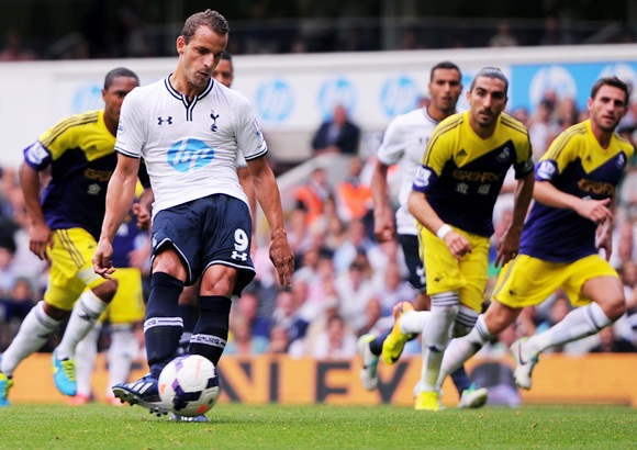 Roberto Soldado of Spurs scores the opening goal from the penalty spot