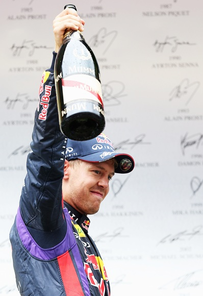 Sebastian Vettel of Germany celebrates