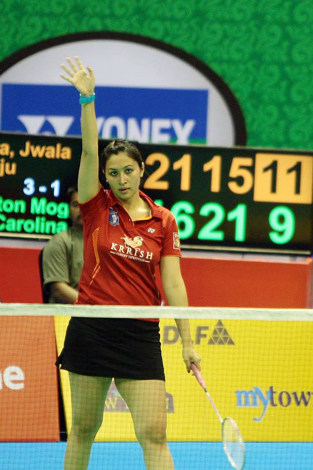 Jwala Gutta acknowledges fans after defeating Banga Beats' Mogensen and Marin on Sunday