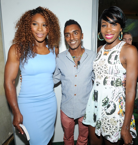 Chef Marcus Samuelsson pose with Tennis Players Venus Williams (right) and Serena Williams