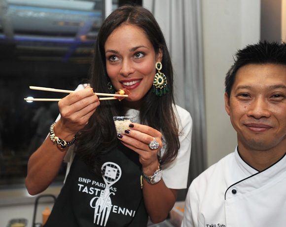 Ana Ivanovic poses with Chef Taku Sato
