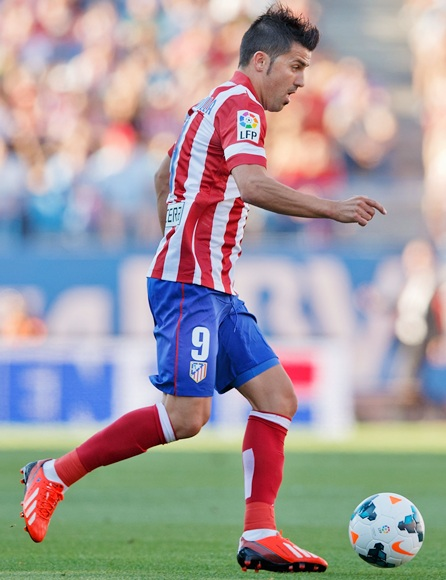 David Villa of Atletico de Madrid controls the ball