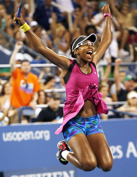 Victoria Duval of the US celebrates