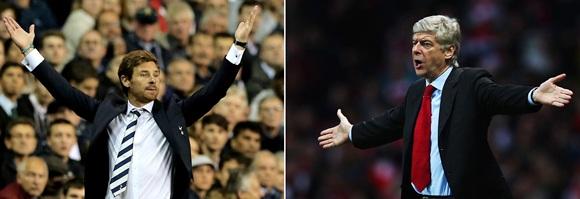 Tottenham Hotspur Manager Andre Villas Boas (left) and Arsenal Manager Arsene Wenger