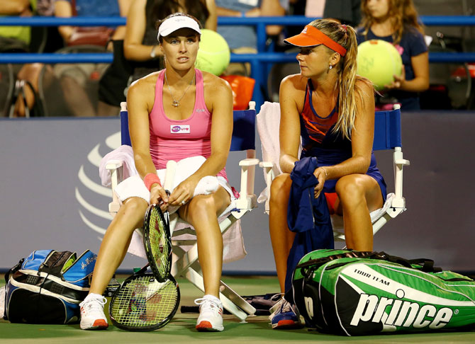Martina Hingis of Switzerland and Daniela Hantuchova of Slovakia