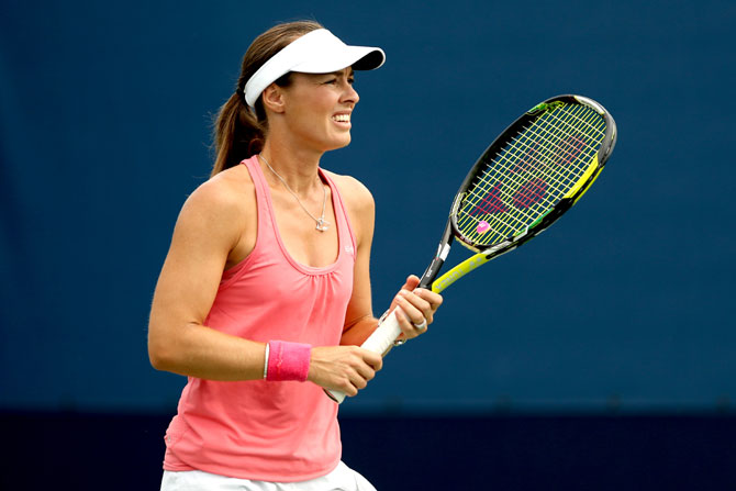 Martina Hingis of Switzerland in action
