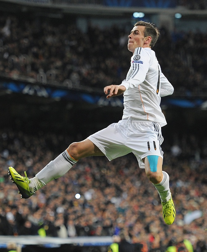 Gareth Bale of Real Madrid CF celebrates after scoring Real
